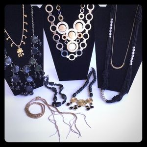 Jewelry - Lot bundle of black gold silver circle necklaces